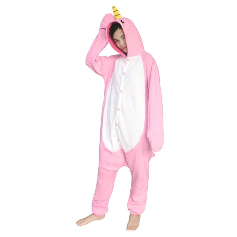 New Adult Animal Footed Narwhal Onesies Cetacean Pajamas Women Animal Pijamas Costumes Homewear Lounges Fleece Unisex Sleepwear Women's Sleepwears