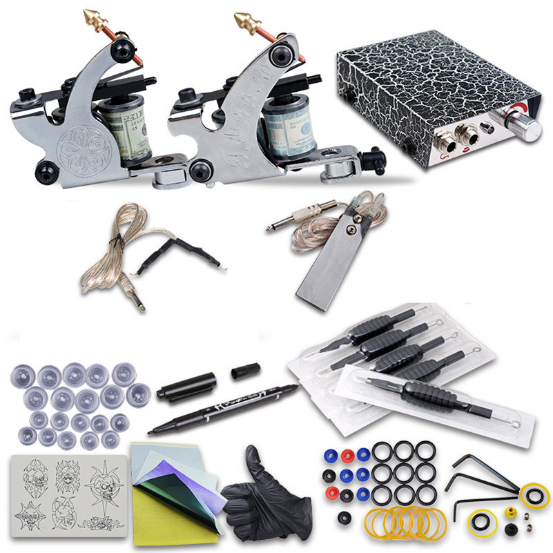 цена на 2017 Complete Tattoo Kit 2Pcs Coil Tattoo Machine Guns Power Supply Foot Pedal Needles Grips Tips For Tattoo Body Starters