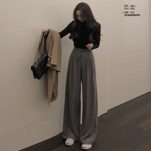 Straight Pants Autumn Female Wide Casual High-Quality Women Ladies Simple Mazefeng Solid