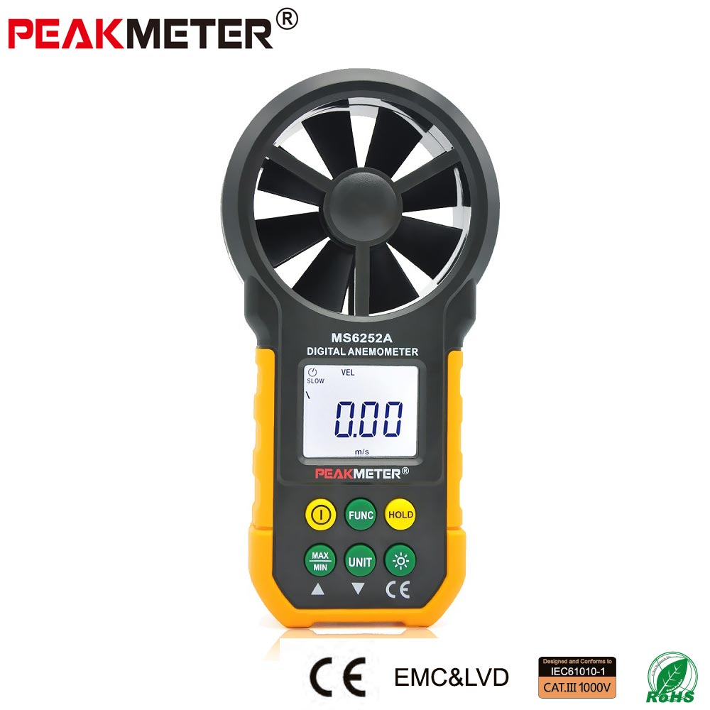 PEAKMETER Digital Anemometer 0.4-30m/s Wind Speed Meter -20~60C Temperature Tester Anemometro with LCD Backlight Display qstexpress digital anemometer 0 30m s wind speed meter 10 45c temperature tester anemometro with lcd backlight display