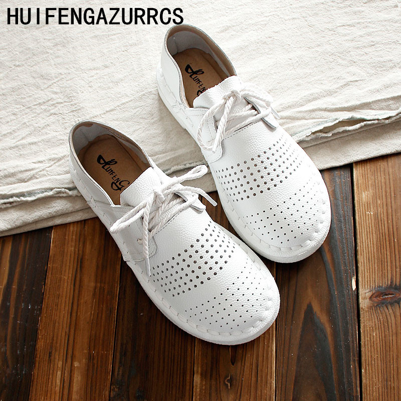 HUIFENGAZURRCS New Genuine leather shoes Pure handmade flats shoes the retro art mori girl shoes Simple