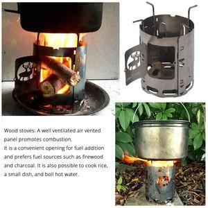 Image 5 - Titanium Alloy Folding Wood Stove Multifuel BBQ Camping Outdoor Burners Portable Alcohol Lantern Picnic Firewood