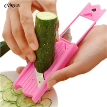 CTREE New Cucumber Slicer 0.7mm Stainless Steel Blade Vegetable Fruit Cutter Peeler Facial Beauty Mirror C236