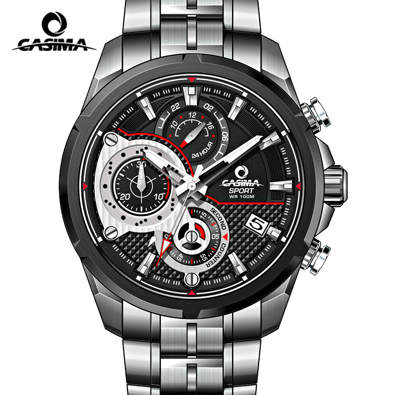 Casima luminous military sport quartz watch men 100m waterproof chronograph dive steel wrist for Casima watches