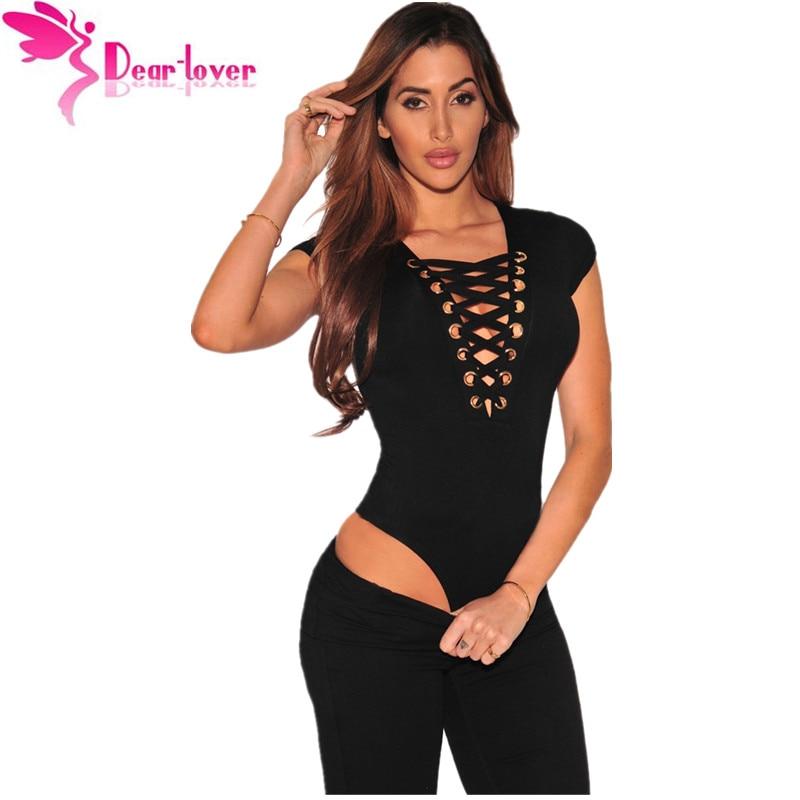 843d87c9b6 Dear Lover Cheap 1 Piece Women s Top 4 Colors Black Lace Up Cap Sleeves  Bodysuit Casual
