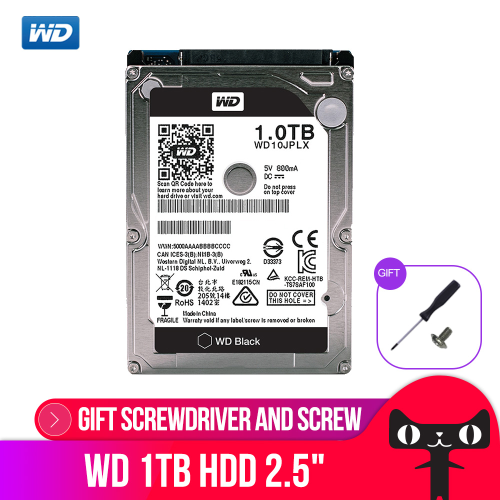 WD 1 ТБ Черный 2,5 ''HDD HD SATA III Internal жесткий диск 1000 ГБ жесткий диск для Тетрадь ноутбук 9,5 мм 7200 об./мин. WD10JPLX