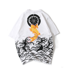 O-neck Cotton Casual Tshirt Homme T Shirt Men Summer Wear Original Chinese Carp Printing Neck Short Male Large 2019 New Arrival
