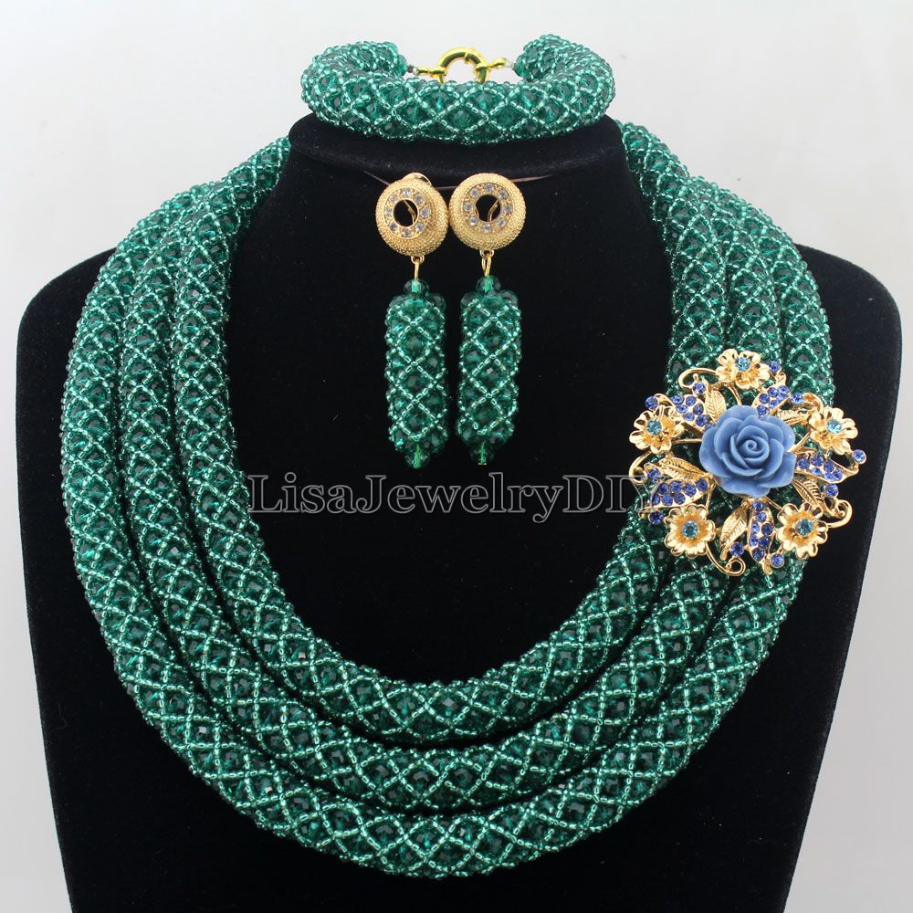 Splendid Statement Necklace African Jewelry Set African Crystal Jewelry Set for Wedding Statement Necklace Jewelry HD7346 nylon rope alloy statement necklace set