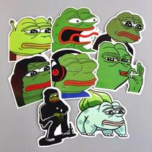 8Pcs/Lot Sad Pepe the Frog Graffiti Stickers Anime Laptop Luggage Skateboard Motorcycle Snowboard Car Stickers Toys For Children(China)