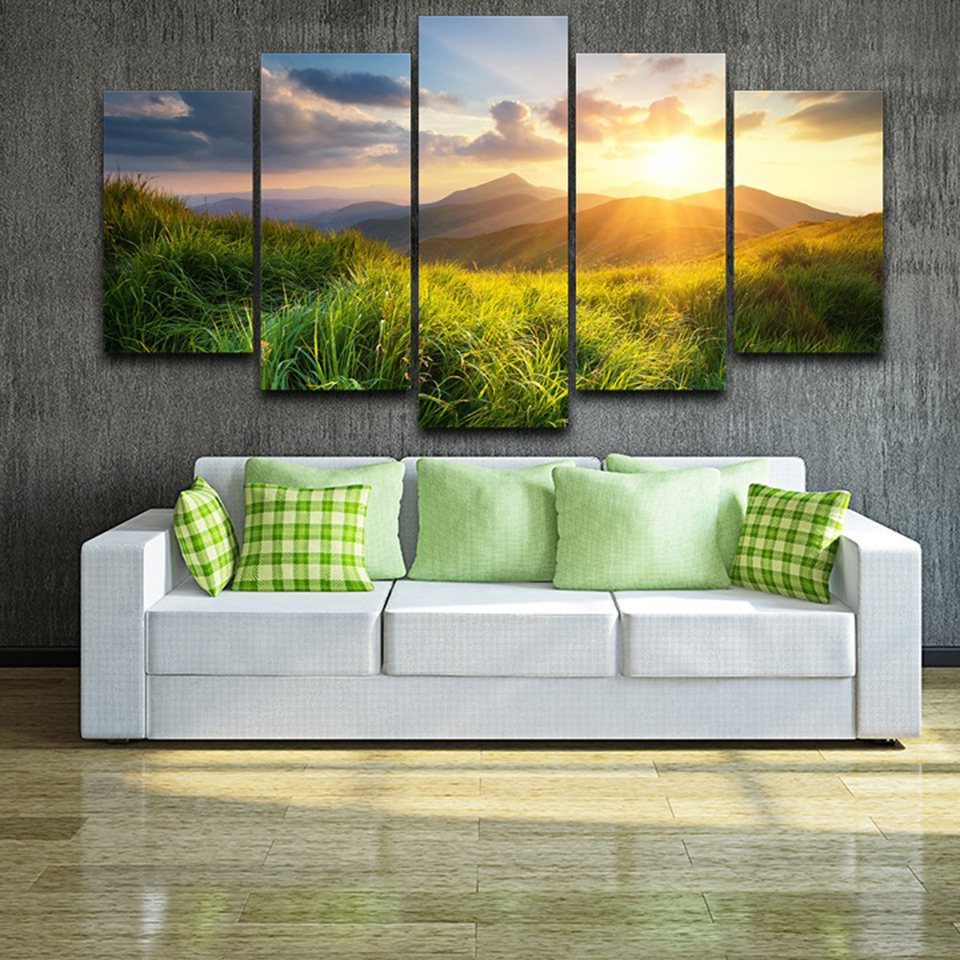 Canvas Print Painting Home Decor 5 Pieces Mountain Valley Prairie During Sunset Nature Scenery Poster Modular Wall Art Pictures no frame canvas
