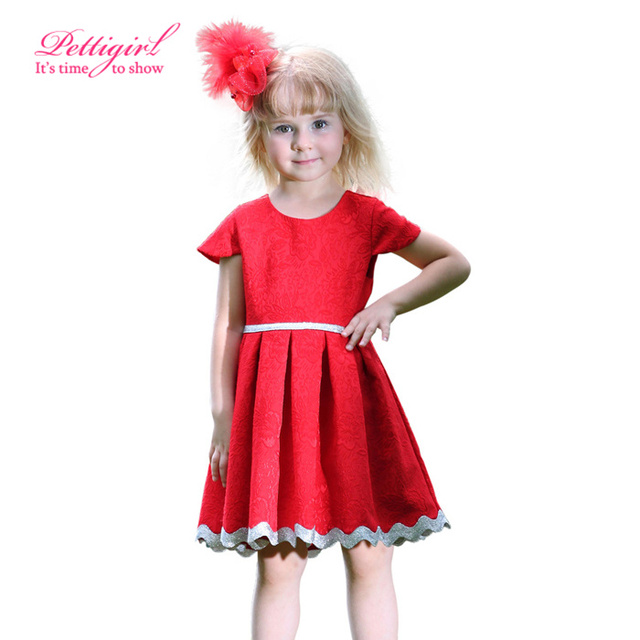d04f234b03be 2017 Pettigirl Kids Designer Red Jacquard Little Girl Pleated Princess Dress  Hot Chinese New Year Dress For Girls