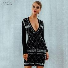 Adyce 2019 Vrouwen Zomer Bandage Jurk Vestidos Celebrity Avond Party Dress Sexy Zwarte Lange Mouwen Kralen Parels Landingsbaan Jurk