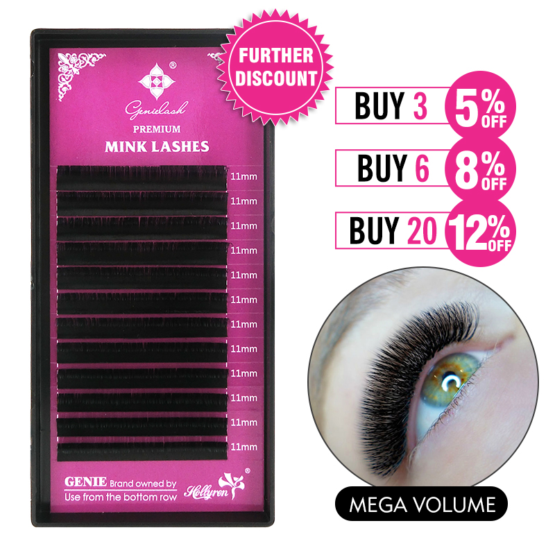 GENIELASH 0.03/0.05 Mink Eyelash Extension Thin Soft Individual Eyelashes Extension Mega Volume Eyelashes Makeup Lash Extensions