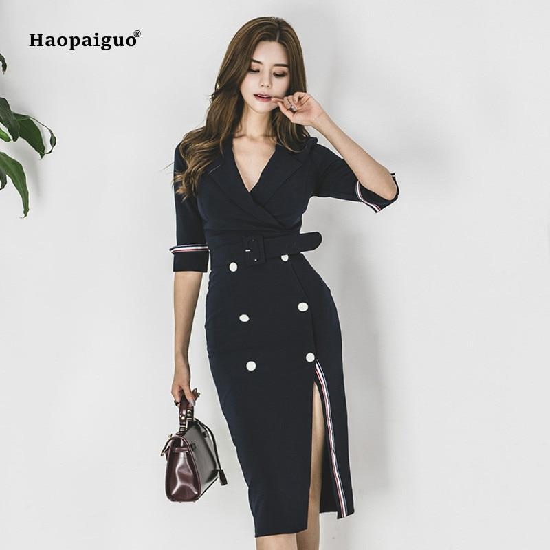 24f2ea44f4a Plus-Size-Pencil-Dress-2018-Women-Blue-Half-Sleeve -Notched-Knee-length-Korean-Work-Suit-Dress.jpg