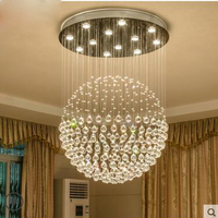 Crystal chandelier round Spherical living room dining room lamp modern minimalist Double staircase chandelier dining room led