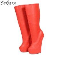 Sorbern/Популярные красные ботинки до середины икры для широкой стопы, женские модные ботинки, большие размеры 45, ботинки в готическом стиле, бо