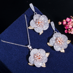 Image 4 - CWWZircons 3 Tone Rose Gold Full Micro Pave Cubic Zirconia Ladies Flower Pendant Necklace and Earrings Jewelry Sets T063