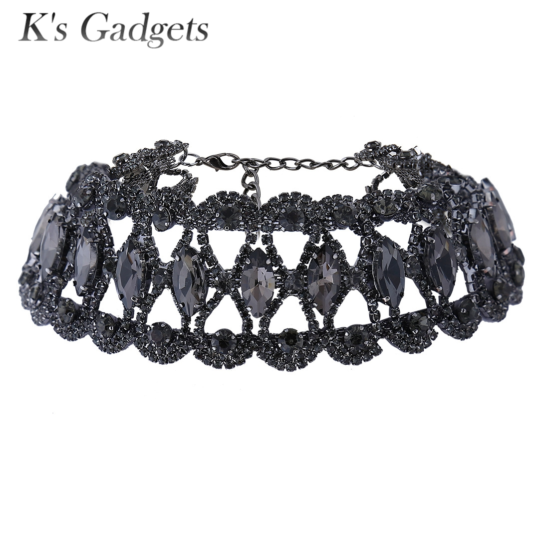 K's Gadgets Black Rhinestone Crystal Pendant Necklace Fashion Jewelry  Collar Choker Chunky Statement Necklaces For Women