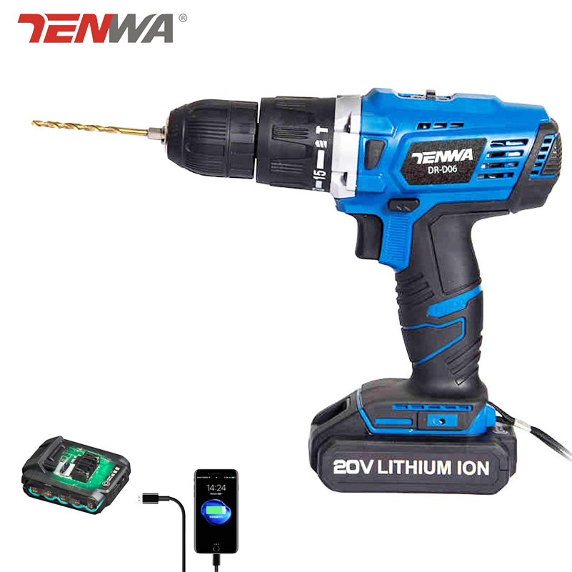 Tenwa 20V Impact Cordless Drill Lithium-Ion Battery Electric Cordless Drill with box hand Charging Drill bit power tool 1/2 tenwa 21v 4000mah electric impact wrench home repair power tool lithium battery cordless wrench 280n m brush brushless drill