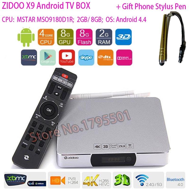ZIDOO X9 Smart Android TV BOX 4K H.265 Media Player Bluetooth 4.0 Dual WIFI 7.1 Passthrough HDMI-in Recorder KODI XBMC Dolby DTS zidoo x6 pro wifi android tv box oversea versions hd 4k 2k h 265 rk3368 bluetooth xbmc unblock kodi 2g 16g 3d octa core 1000m