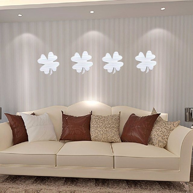 3D Flower Pattern Wall Sticker Home Decoration Wall Art Mirror ...