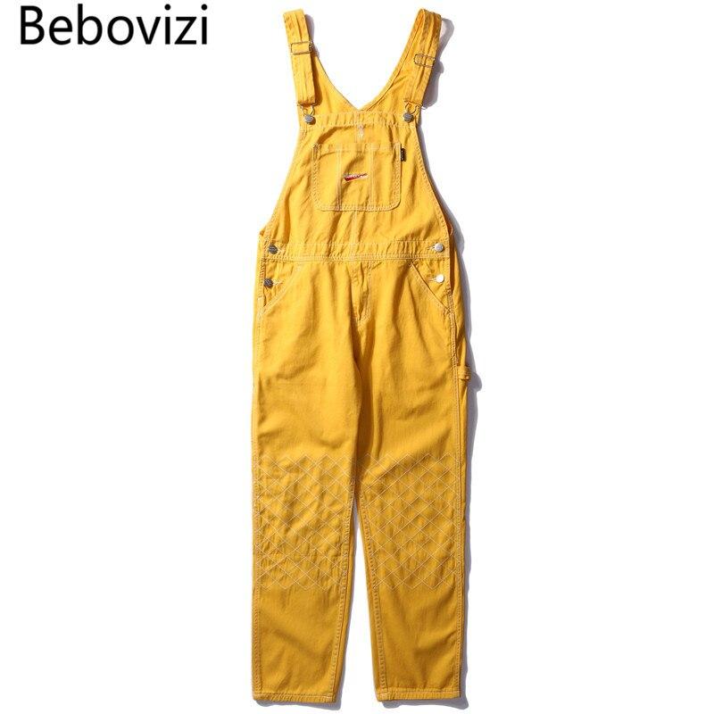 Bebovizi Fashion Hip Hop Male Suspenders   Jeans   Casual Denim Overalls Streetwear Men's Bib   Jeans   Yellow Boyfriend   Jeans   Jumpsuit