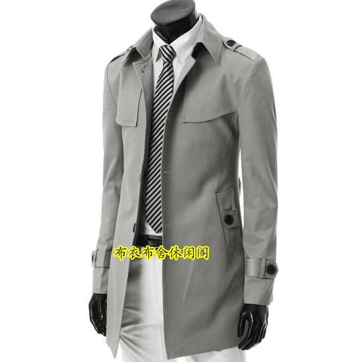 Autumn new designer slim sexy shore trench coat men medium-long overcoat long sleeve mens clothing business outerwear Grey black