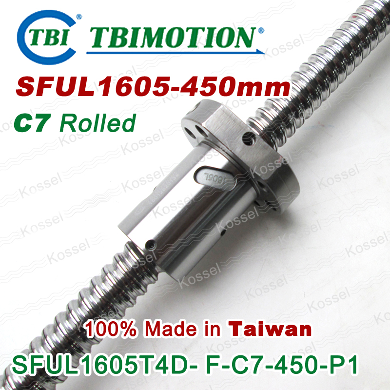TBI 1605L C7 450mm Direction left helix ball screw 5mm lead with SFUL1605 ballnut set end machined for high stability CNC kit tbi ball screw 2005 c7 1000mm with 5mm lead without flange ballnut bsh2005 for cnc kit backlash