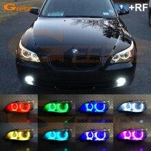 For BMW E60 E61 520i 525I 530I 540I 545I 550I M5 2003-2007 Halogen headlight RF Bluetooth Control Multi-Color RGB led angel eyes