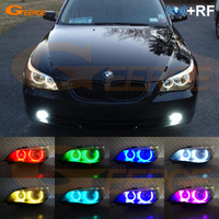 For BMW E60 E61 520i 525I 530I 540I 545I 550I M5 2003 2007 Halogen headlight RF Bluetooth Control Multi Color RGB led angel eyes