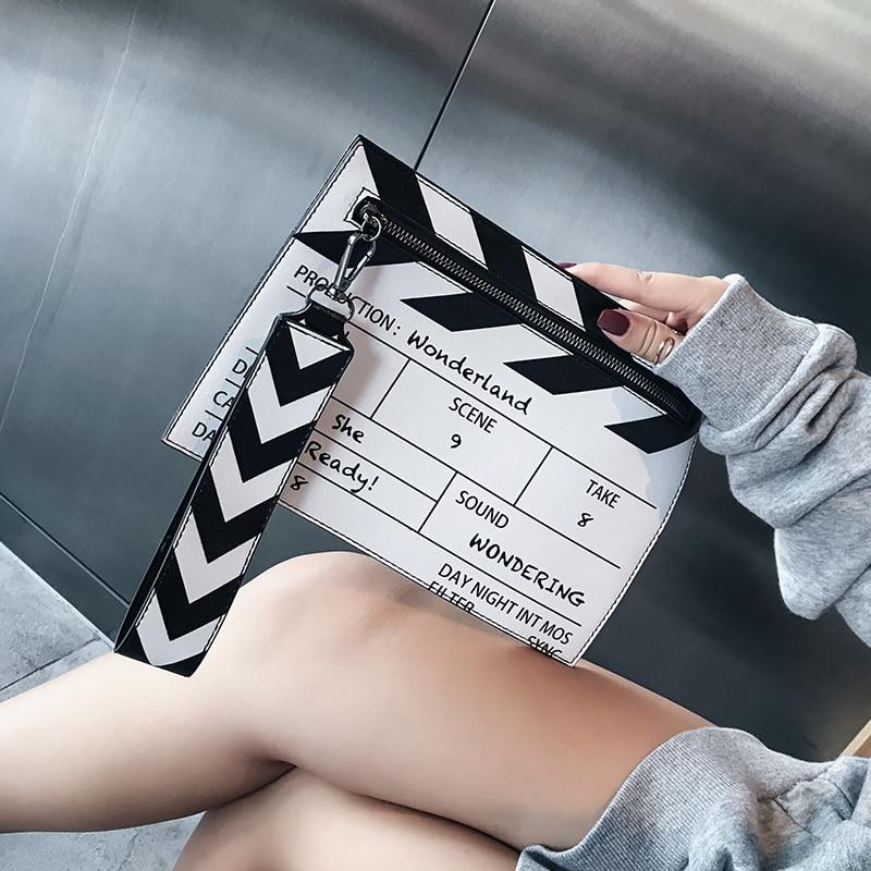 Kupplungen Hart Arbeitend Weiß/schwarz Mode Film Prop Design Pu Leder Casual Frauen Kupplung Tasche Hülle Tasche Schulter Tasche Crossbody Messener Tasche Ruf Zuerst Damentaschen