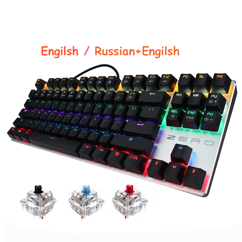 все цены на METOO Russian Mechanical Gaming Keyboard 87 104 Key Blue Red Black Switch Wired LED Backlit Anti-Ghosting For overwatch PTUG LOL онлайн