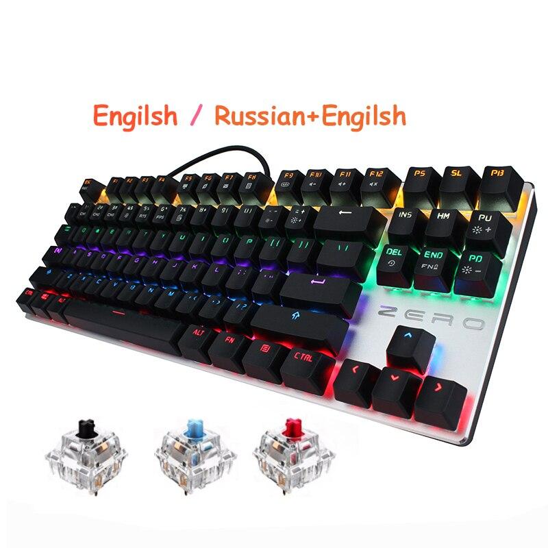 METOO Russische Mechanische Gaming Tastatur 87 104 Key Blau Rot Schwarz Schalter Verkabelt LED Backlit Anti-Geisterbilder Für overwatch PTUG LOL