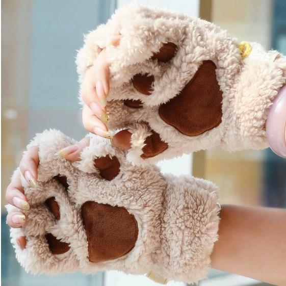 Горячая распродажа 1 пара = 2 шт. милый медведь лапой плюшевые перчатки зима теплая тепловые любителей вязаные перчатки половину палец варежки мультфильм перчатки варежки перчатки женские