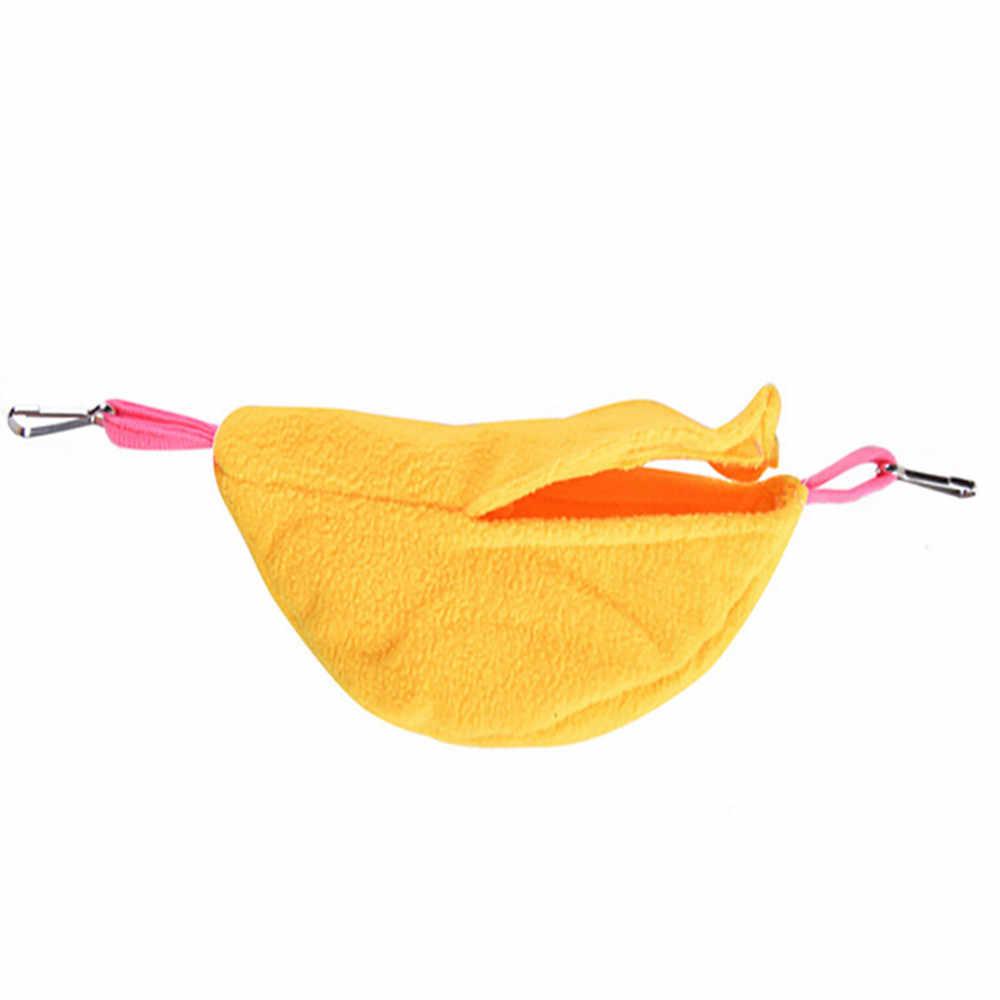 Гамак для хомяка хорек заец Малый животные флис теплый Банан Форма хлопок сна Гнездо Дом Висит Кровать Домашних Животных