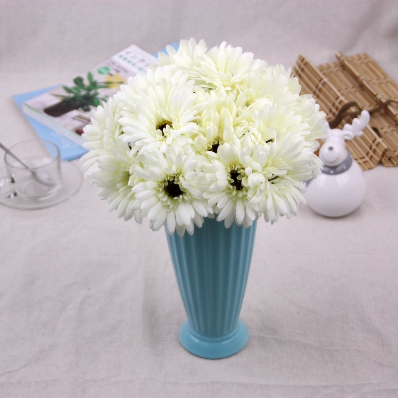 1Pcs Silk Artificial daisy Flowers 5 Heads Bouquet Vivid Gerbera 8 Colors Home/Wedding Decoration