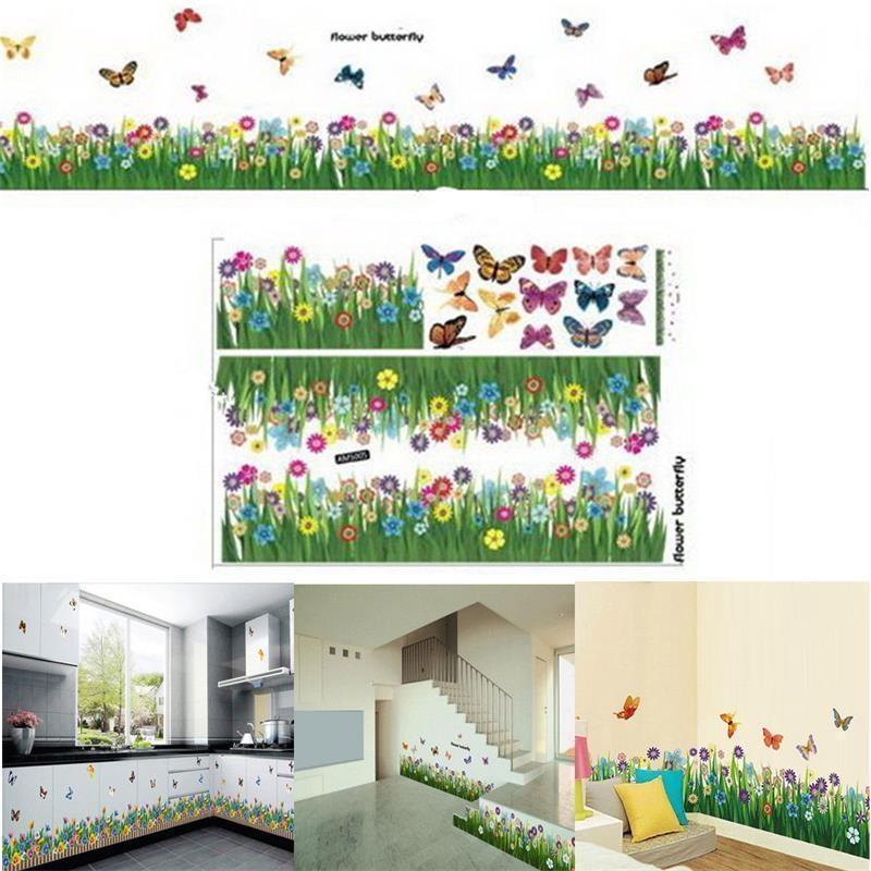 Removable Butterfly Flower Grass Wall Sticker Border Decal Window Decor Hot Sale