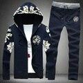 2015 conjuntos de Outono novos homens casual hoodies camisola + calças cardigan de manga comprida personalizado Coreano jaquetas casuais impresso flor