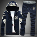 2015Autumn new casual men's sets cardigan long sleeve personalized hoodies sweater +  pants Korean casual jackets printed flower