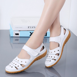 Image 5 - dobeyping Hollow Woman Sandals Breathable Women Beach Shoes Genuine Leather Female Flats Cut Outs Womens Loafers New Arrival