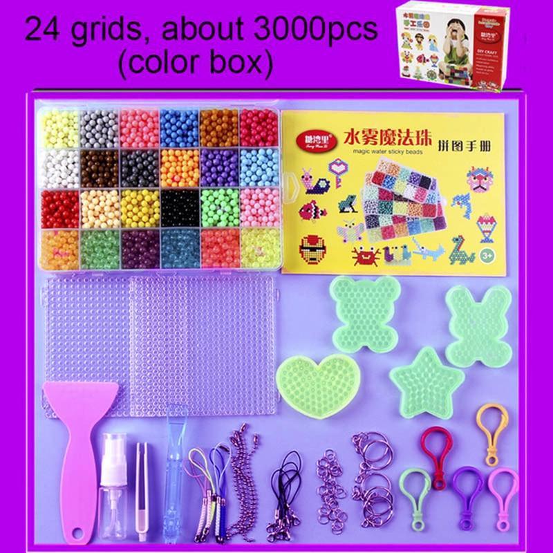 eeead615fc97 6000pcs 24 colors Refill Aqua Beads puzzle Crystal Aquabeads DIY water  spray set ball games 3D handmade magic toys for children