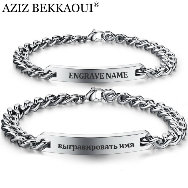 Customize Name Bracelet 316 Stainless Steel ID Bracelet Bangles Personalized Cus