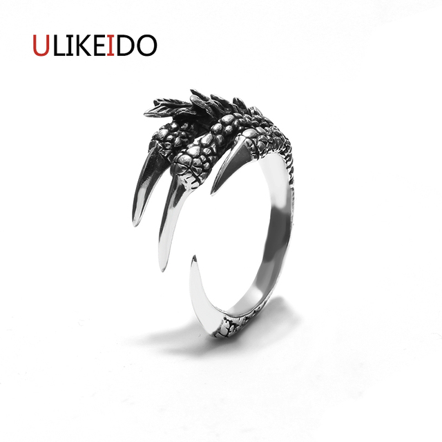 2017 New Rock Punk Male 925 Sterling Silver Rings Dragon Claw Ring