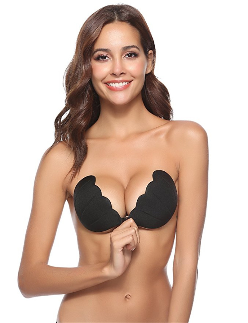 Dropshipping Women Self Adhesive Strapless Bandage Blackless Solid Bra Stick Gel Silicone Push Up Invisible Bra