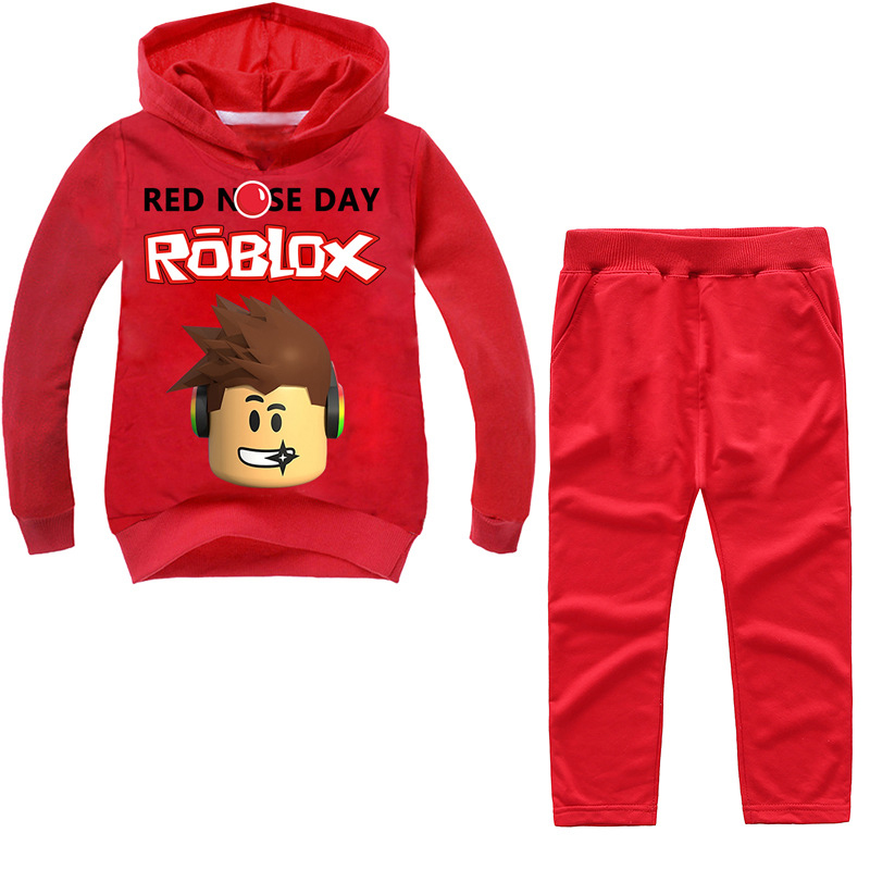 2PCS ROBLOX Boys Girls Clothes Set Long Sleeve T shirt Hoodies Sweatshirt Clothing Suit For Children Kid New Year's Gift round neck long sleeve 3d coins print sweatshirt