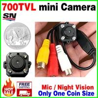 Bardzo Mini 1/4 cmos 700tvl Hd mikro kamery podczerwieni Night Vision AV Audio Mic 4 sztuk Led Wspólne małe vidicon nadzoru bezpieczeństwa