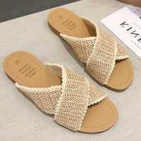 2019 Weave Slippers Women Summer Shoes Woman Casual Ladies Flat Home Indoor Slippers Slides Women flip flops pantufa tong femme