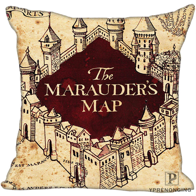 Custom Decorative Pillowcase Harry Potter Map Square Zippered Pillow Cover 35X35,40x40,45x45cm(One Side)180516-46