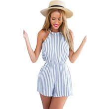 Playsuits summer new blue striped overalls sexy halter harness piece shorts skirt women rompers clothing vestidos LBD1067(China)