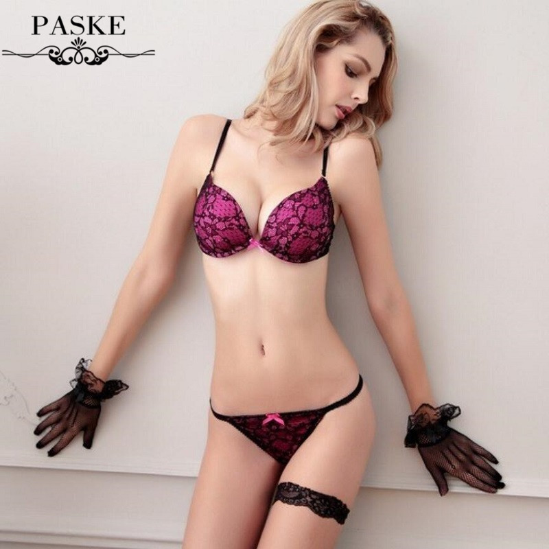 Brand Embroidery <font><b>Full</b></font> Lace Bra Set Women Underwear,Sexy 3/4 <font><b>Cup</b></font> Push Up Brassiere Lace Bra and Thong Set,Ropa Interior Mujer